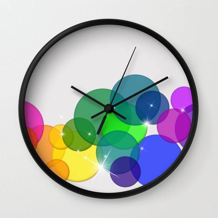 Translucent Rainbow Colored Circles with Sparkles - Multi Colored Wall Clock
