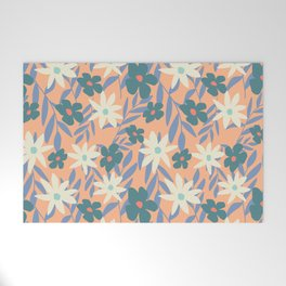 Just Peachy Floral Welcome Mat