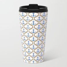 Seamless nautical pattern with blue anchors and rope on white background Metal Travel Mug
