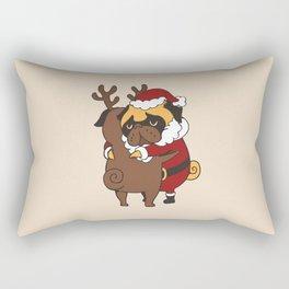 Pug Hugs Christmas Rectangular Pillow