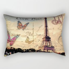 Vintage Paris-Carte Postale Rectangular Pillow