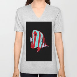 Red Banded Butterfly Fish Unisex V-Neck