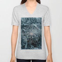 Star Mandala on Enigmatic Deep Blue Ocean Marble #1 #decor #art #society6 Unisex V-Neck