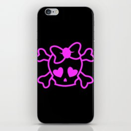 Pink girly emo skull with bow iPhone Skin