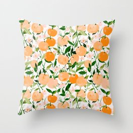 Spring Clementines Throw Pillow
