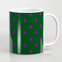 Pink & Green Fleur-de-Lis Pattern Coffee Mug