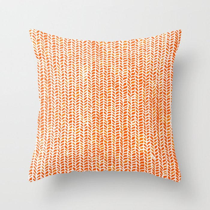 Stockinette Orange Throw Pillow By Elisasandoval Society6