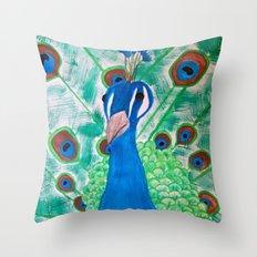 Watercolor Peacock Throw Pillow