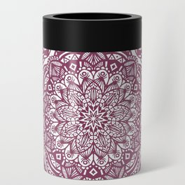 Wine Maroon Ethnic Detailed Textured Mandala Can Cooler