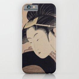 Vintage Japanese Ukiyo-e Woodblock Print Woman Portrait III iPhone Case