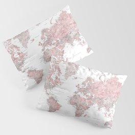 We travel not to escape life, dusty pink and grey watercolor world map Pillow Sham