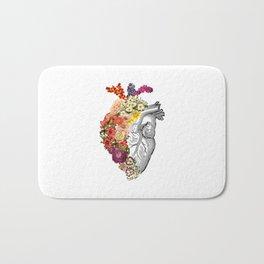 Flower Heart Spring White Bath Mat