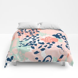 Kala - abstract painting minimal coral mint navy color palette boho hipster decor nursery Comforters