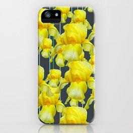 CHARCOAL GREY YELLOW IRIS GARDEN ABSTRACT iPhone Case