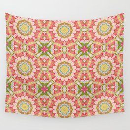 Red green round ornament Wall Tapestry
