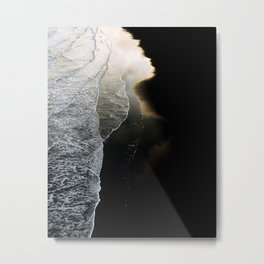 Waves on a moody black sand beach in iceland - minimalist Landscape Photography  Metal Print