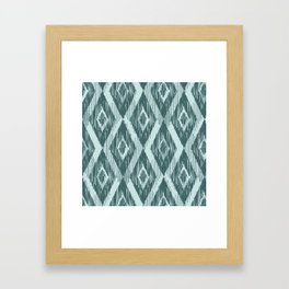 Pine and Mint Ikat Framed Art Print