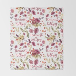 'Feminist Killjoy' cute floral print Throw Blanket