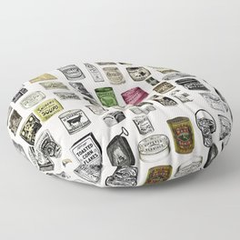 Vintage Victorian food cans Floor Pillow