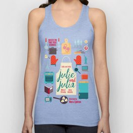 Julie and Julia, minimal movie poster, Meryl Streep, Amy Adams, Nora Ephron film, Julia Child, cook Unisex Tank Top
