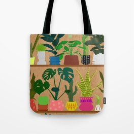 Plants on the Shelf in Warm Wood Tote Bag