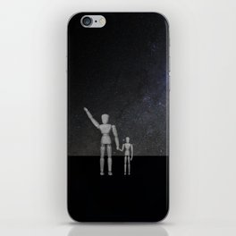 Wooden Anatomy Doll Father Points to Moon with Child iPhone Skin
