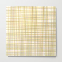 Fine Weave Retro Modern Mid-Century Pattern in Mustard Yellow and White Metal Print