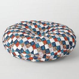 Turquoise Orange Cream Patchwork Floor Pillow