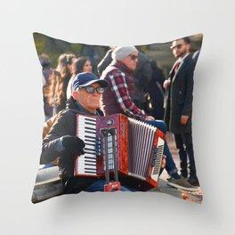 Accordion Man Throw Pillow