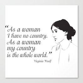 Virginia Woolf Feminist Quote Canvas Print