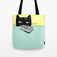kitty Tote Bags featuring Kitty  by Mary Kilbreath