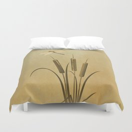 Cattails And Dragonfly Duvet Cover