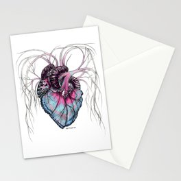 Butterfly Heart Blue Stationery Cards
