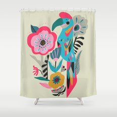 PARROT AT THE GARDEN Shower Curtain