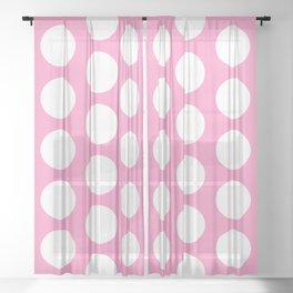 White circles on pink Sheer Curtain