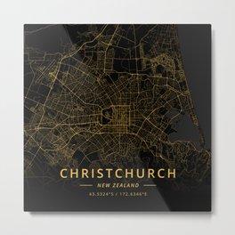 Christchurch, New Zealand - Gold Metal Print