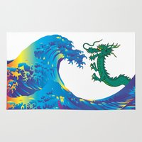 hokusai Area & Throw Rugs featuring Hokusai Rainbow & Dragon by FACTORIE