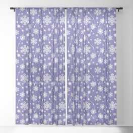 Purple Holiday Snowflake Pattern Sheer Curtain