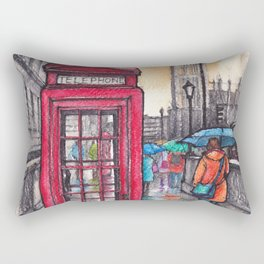 Rainy day in London ink & watercolor illustration Rectangular Pillow