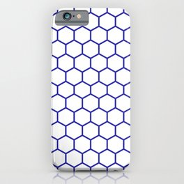 Honeycomb (Navy Blue & White Pattern) iPhone Case