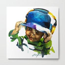 Boy with golden headphones Metal Print