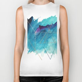 Galaxy Series [1]: an abstract mixed media piece in blue, purple, white, and gold Biker Tank