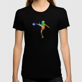 Woman soccer player 17 in watercolor T-shirt