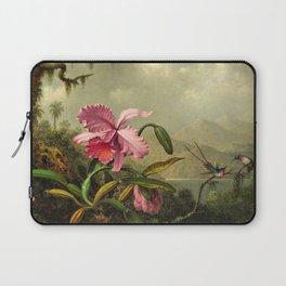 Orchids And Hummingbirds mountainous rainforest landscape painting by Martin Johnson Heade Laptop Sleeve