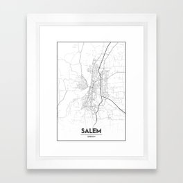 Minimal City Maps - Map Of Salem, Oregon, United States Framed Art Print