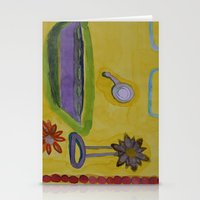 bathroom Stationery Cards featuring The Yellow Bathroom by Heidi Capitaine