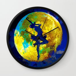 BALLET DANCER AND THE MOON Wall Clock