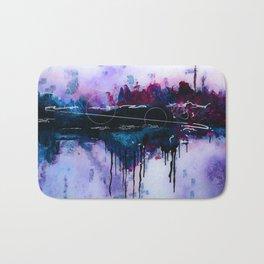 Dawn, pink and fushia black and blue acrylic abstract artwork Bath Mat