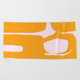 Abstract in Yellow and Cream Beach Towel