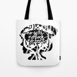 No Gate, No Lock, No Bolt in Black and White Tote Bag
